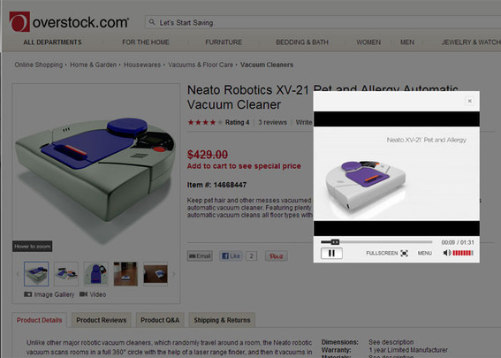 Some of Overstock's product videos are used to describe somewhat unfamiliar products like this robot vacuum.